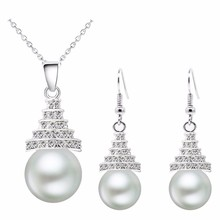 effel tower women brand bridal queen  gold Simulated Pearl pendant chain rhinestones Necklace Earrings Jewelry sets 29133
