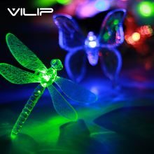 2PCS Led Solar Light Outdoor Waterproof Garden Lampara Solar Dragonfly Lamp Battery Outdoor Garden Light Garden Decoration T(China)