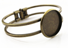 High Quality  25mm Bronze Plated Bangle Base Bracelet Blank Findings Tray Bezel Setting Cabochon Cameo  (L6-06)