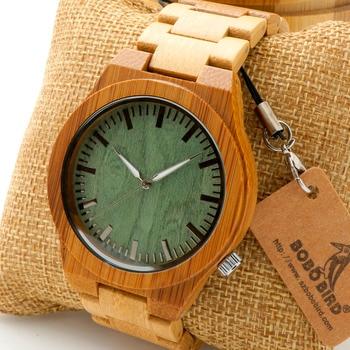 Bobobird M006 Hommes Top Brand Design Vert Cadran En Bois Plein Bambou En Bois Montres À Quartz Japon 2035 Miyota Mouvement