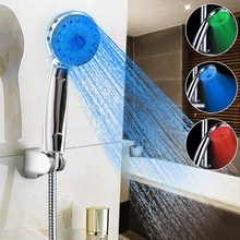 Adjustable 3 Modes 3 LED Color Bathroom Hand Shower Head Temperature Sensor Bath Showerhead Sprinkler