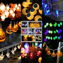 Hanging Halloween Pumpkin Lantern 3D Plastic Skull String Light LED Pumpkin Bat Spider Lights Halloween Holiday Decor VQW2755