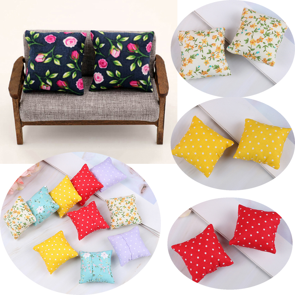 2PCS White Silk Pillow Cushions Sofa Couch Bed 1//12 Dollhouse Miniature Doll Toy