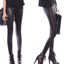 IMC Ladies Sexy Wet Look Leggings Black Lace Side Shiny Leather Look(China)