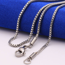 20 24 26 30INCH 1.5mm box chain necklace Titanium fashion linked chain hot 316L stainless steel chain necklace men gfit
