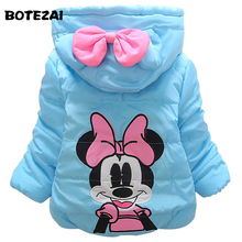 New Cartoon Minnie coats girls winter warm Coat girls cotton padded jacket Children Outerwear Girl Hooded Baby clothing
