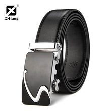 XHTANG Genuine Leather Belt Men Fashion Silver Black Automatic buckle Belt Business Casual Belts for Jeans Male Gift Waistband(China)