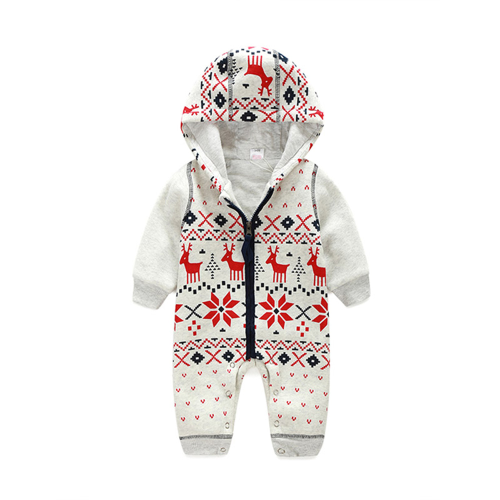 Winter Christmas Elk Jumpsuits Baby Hooded Zipper Clothing Thickening Cotton Kids Rompers Newborn Children Costumes CL0745<br>