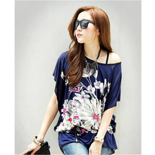 Latest Women Summer Loose T Shirts Tops Flower Print Casual Tops Tees Batwing Sleeve Plus Size L, XL Korean Style 2017 KH853127