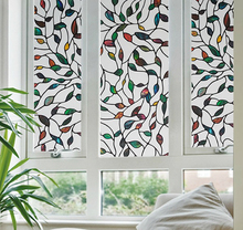 2017 New Colorful Leaf Static Cling Decorative Stained Glass Window Film Privacy Films Textured Window stickers Length 100cm(China)