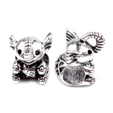 New Silver Plated Annimal Bead Charm European Vintage Cute Elephant Beads Fit Women Pandora Bracelet Bangle DIY Jewelry HKA0724