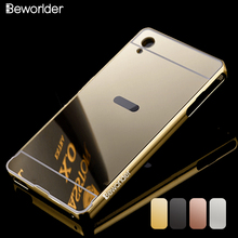 Beworlder For Sony M4 Case Matel Aluminum Frame + Mirror Acrylic Back Plate Phone Cases Cover For Sony Xperia M4 Aqua(China)