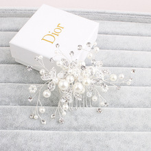 Elegant Silver Clear Crystals Leaf Pearls and Rhinestones Wedding Hair Comb Bridal Headdress Hair accessories(China)