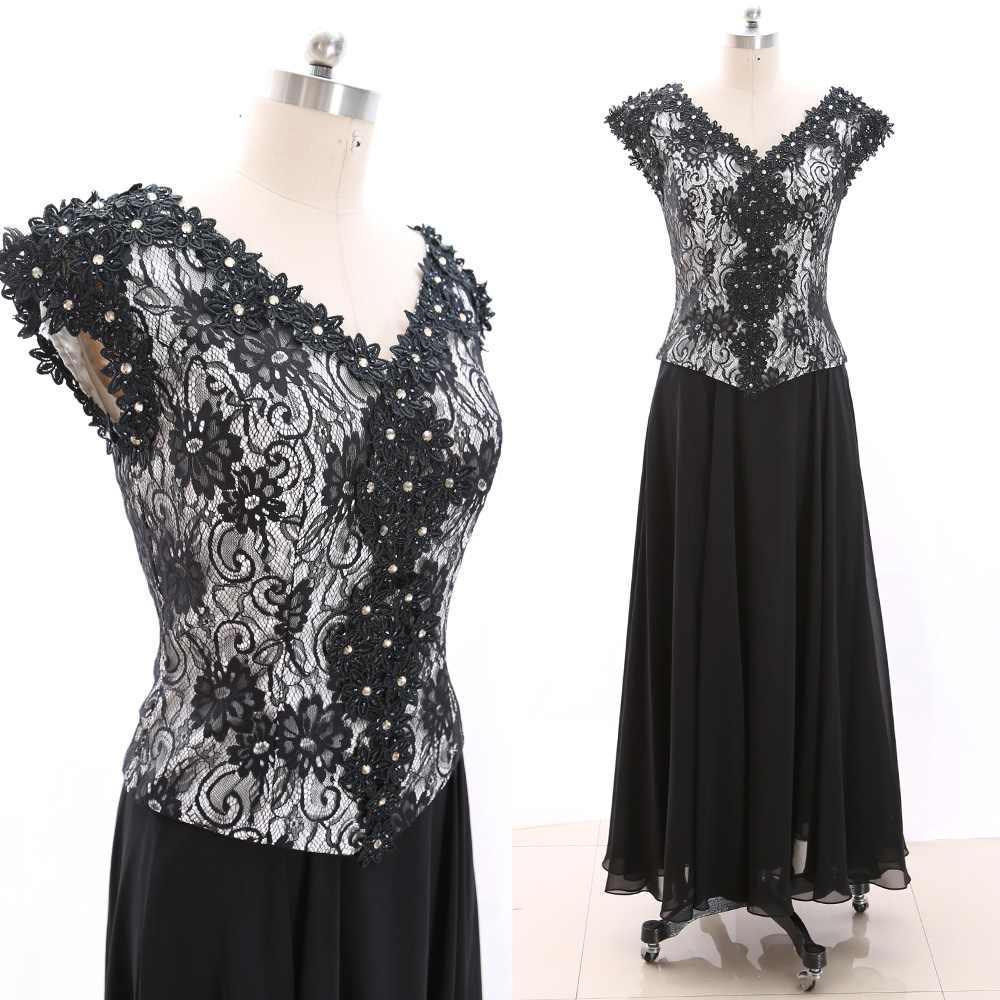 MACloth Black 0 V Neck Floor-Length Long Embroidery Chiffon Prom Dresses Dress L 265828 Clearance