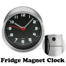 Free Shipping Black Dial 2pcs/lot Kitchen Fridge Magnets Clock Aluminum Wall Clocks,Metal Desk Clocks,Tin Can Clocks