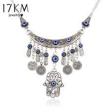 17KM Vintage Silver Color Statement Necklaces For Women 2017 Fatima Eye Hand Tibetan Pendants Ethnic Jewelry Maxi Accessories(China)