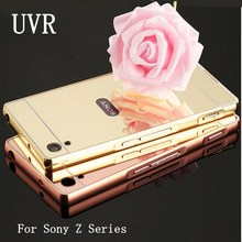 Buy UVR Rose Gold Aluminum plating Mirror Case Sony Xperia Z Z1 Z2 Z4 Z5 Z3 Z5 Compact Premium M4 M5 Metal Frame Back Cover for $4.39 in AliExpress store