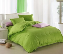 New Green theme high quality home bedding set, 2 pillow case, 1 bed sheet and 1 duvet cover bed cover