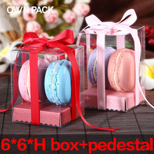 Direct Selling clear box 10pcs/lot 6*6*H and pedestal/gifts box  wedding gifts for guests/ plastic container/ macarons package