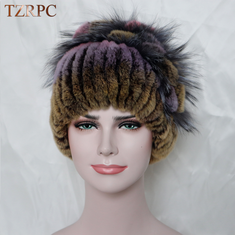 TZRPC Women Genuine Imported Rex Rabbit Fur Hat With Fox Fur Flower Top Cap hight Quality Knitting Ear protection cap warm thickÎäåæäà è àêñåññóàðû<br><br>