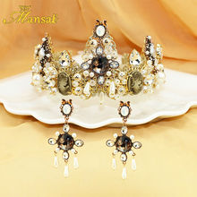 Hot Selling Luxury Handmade Baroque Tiara Earrings Simulated Pearl Jewelry set Mary goddess Hairband Vintage Queen Crown HG124
