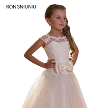 First Communion Dresses For Girls Scoop Backless With Appliques and BowTulle Ball Gown Princess Pageant Dresses For Little Girls