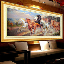 Needlework,DIY Cross stitch,Sets Full Embroidery kits,Big Size Running Horse Pattern Printed Scenic Cross-Stitch,Wall Home Decro