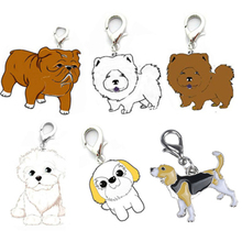 Pet Collars Pendant 25mm Dog Tag Disc Disk Pet ID Enamel Accessories Collar Necklace Pendant Dog Breeds Cartoon Pendant D17(China)