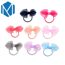 MISM New Arrival Cute Children Candy Color Hair Elastic Band Kids Solid Bow Ponytail Holders Sweet Girls Accessories Scrunchy(China)