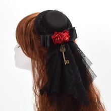 1pc Vintage Women Red Floral Black Lace Veil Mini Top Hat Hair Clip Goth Headwear Steampunk Accessory