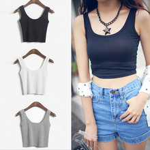 WANAYOU Summer Slim Render Short Top Women Sleeveless U Croptops Tank Tops Solid Black/White Crop Tops Vest Tube Top 6 Color