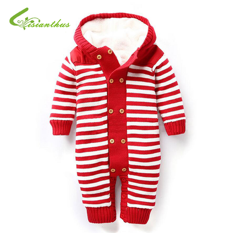 Baby Rompers Winter Thick Climbing Clothes Newborn Boys Girls Warm Cotton Romper Knitted Sweater Overalls Stripe Hooded Outwear<br>
