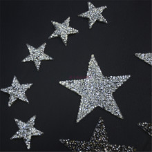 Sparkling Rhinestone Five-pointed Star Pattern Clothes Patches Fashion Sequined Shoes/hats/bags Appliques Bling Iron-on Patches(China)