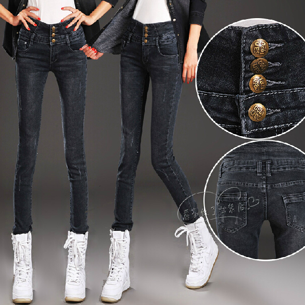 High waist jeans for women elastic slim skinny pants pencil pants Free shippingОдежда и ак�е��уары<br><br><br>Aliexpress