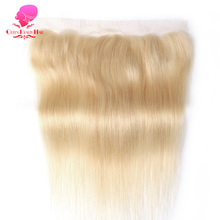 "QUEEN BEAUTY HAIR Brazilian Remy Hair 13""X4"" Free Part 613 Blonde Lace Frontal Closure Straight Human Hair 130% Density"