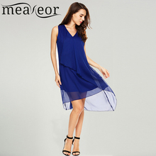 Buy Meaneor Women Chiffon Solid Tank Dress Casual V Neck Pullover Ruffle Front A-Line High Low Hem Summer Dresses Feminino Vestidos for $16.50 in AliExpress store