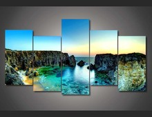 5 panel printed group canvas painting Blue Sea Water canvas print art wall art picture modern home decor for living room F0940(China)