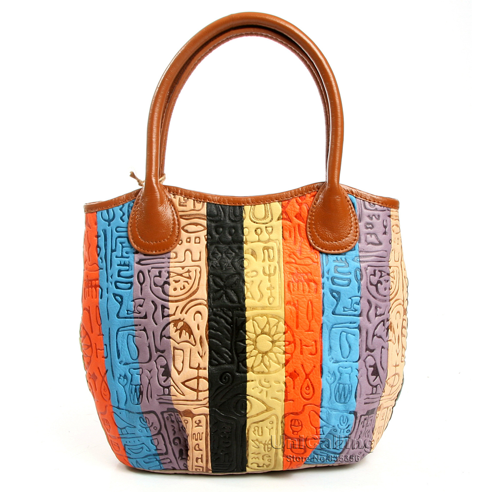 Fashion women handbag genuine leather colorful striped patchwork with ancient hieroglyphic embossing pattern leather tote bag<br><br>Aliexpress