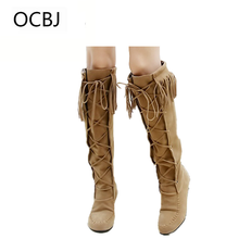 Winter Women Lace Boots Flat Heel Cross Strap Fringed Boots Suede Over The Knee Boots Plus Size 43 Botas Femininas