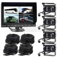 DIYSECUR 9Inch Split QUAD Car Monitor + 4 x CCD IR Night Vision Rear View Camera Waterproof Monitoring System