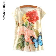 16 Colors 2016 Cotton T Shirt Women Floral Flowers Print T Shirts Women Tops Emoji Funny butterfly T-Shirt Femme Clothes