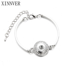 Hot Snap Bracelets & Bangles Rhinestone Simple Vintage Style Design Bracelet FIt 12MM Snaps Button Xinnver Jewelry ZE057(China)