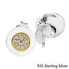 CKK Authentic 925 Sterling Silver 14K Gold Signature Stud Earrings European Style Jewelry For Women Fashion Charms(China)
