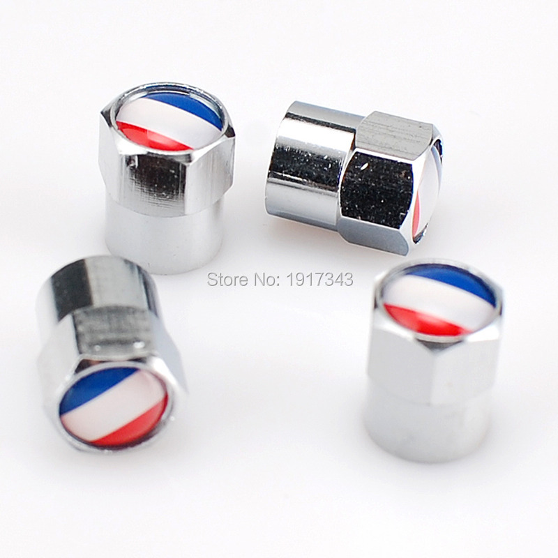 4Pcs Silver Car Badge Emblem Wheel Tire Valve Cap Car Styling Tyre Dust Cap Cover For France French Flag National Flag(China (Mainland))
