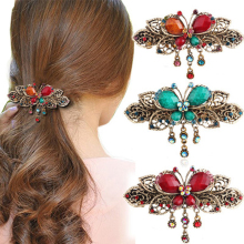 Fashion Women Hairpins Retro Vintage Elegant Crystal Rhinestone Hair Barrette Clip for Girl Flower Hair Clip Hair Accessories(China)