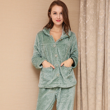 Autumn Winter Flannel Pajama Sets Turn-down Collar Thermal Sleepwear Women Plus Size Thick Nightgown Female Sexy NightwearSY0045(China)