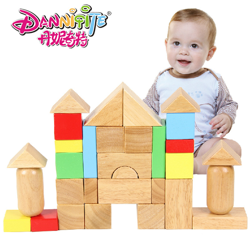DANNIQITE 31pcs kindergarten building rubber wooden early education enlightenment large pieces toys for children<br><br>Aliexpress