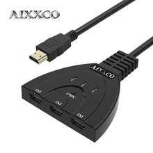 AIXXCO hdmi hub 3 Port 1080P 3D HDMI Switcher Switch Splitter with Cable for PC TV HDTV DVD PS3 Xbox 360 Cable