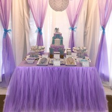 2Pcs Tulle Tutu Table Skirt Wedding Table Decoration Fashion Table Cloth Hotel Home Banquet Party Table Decoration Hot Sale(China)