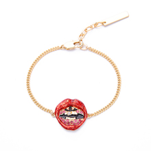 Red Enamel Crystal Lip Bracelet 2017 New Gold Color Chain Charm Bracelet For Women Fashion Jewelry(China)
